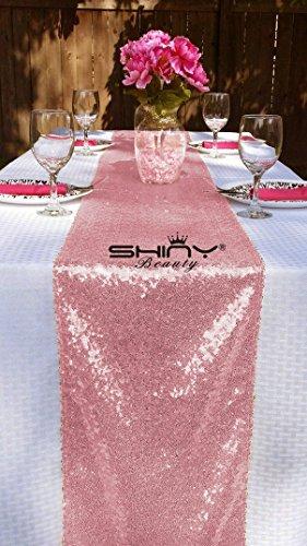 12''*72'' Fushia Pink Sequin Table Runner Sparkly Metallic Sequin Runner for Wedding Party Dinner Reception, Event Bridalwedding Runner(Fushia Pink (Fuchsia Metallic Sequin)