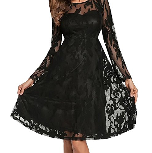 Color Cocktail Long Women Coolred Hollow Black Dress Splicing Lace Sleeve Pure 7HYw7q
