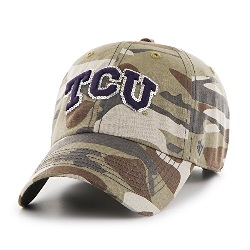 '47 NCAA TCU Horned Frogs Women's Sparkle Camo Clean Up Adjustable Hat, One Size, Faded - Frogs Sparkle