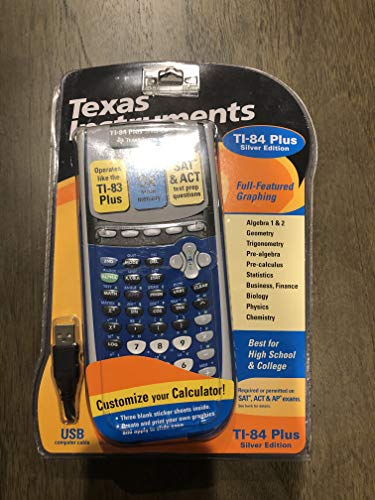 - Texas Instruments TI-84 Plus Silver Edition Graphing Calculator - BLUE