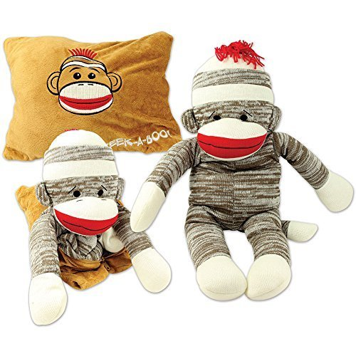 Peek-A-Boo Sock Monkey Plush Pillow 2-In-1 Great for Sleep Play or Travel
