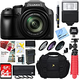 Panasonic DC-FZ80K 18.1MP 60x Optical Zoom Digital Camera + 64GB Deluxe Accessory Bundle