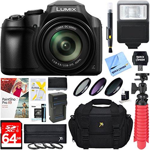 Panasonic Super Zoom Camera (Panasonic DC-FZ80K 18.1MP 60x Optical Zoom Digital Camera + 64GB Deluxe Accessory Bundle)