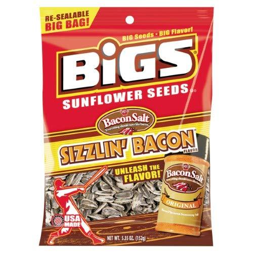 Bigs, Sunflower Seeds, Bacon Salt Sizzlin' Bacon (Pack of 4) (Bacon Salt Sunflower Seeds)
