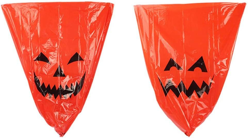 Outdoor Fall Trash Bag Decor Halloween Decorative Giant Lawn Bags with Twist Ties LDPE Halloween Pumpkin Lawn and Leaf Bags Decoration 2pcs Pumpkin Leaf Bags