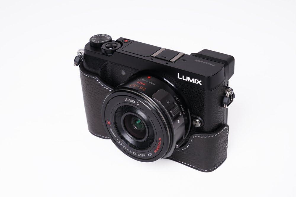 DeepBlue GX85 Case BolinUS Handmade Genuine Real Leather Half Camera Case bag Cover for Panasonic LUMIX GX85 GX80 GX7 Mark II GX7 II Bottom Opening Version