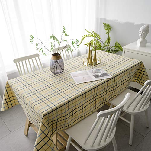Aquazolax Tabletop Decoration 7 ft Long Gridlines Plaids Pattern Tablecloth for Dining Room Rectangle/Oval Table, 54 x 84 inch, - Picnic 7' Table