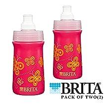 Brita Soft Squeeze Water Filter Bottle For Kids, Pink Butterflies, 13 Ounce (PACK OF 2)