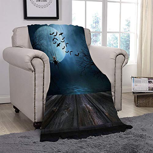 YOLIYANA Light Weight Fleece Throw Blanket/Halloween Decorations,Misty Lake Scene Rusty Wooden Deck Spider Eyeball and Bats Moonlight,Blue Brown/for Couch Bed Sofa for Adults Teen Girls Boys