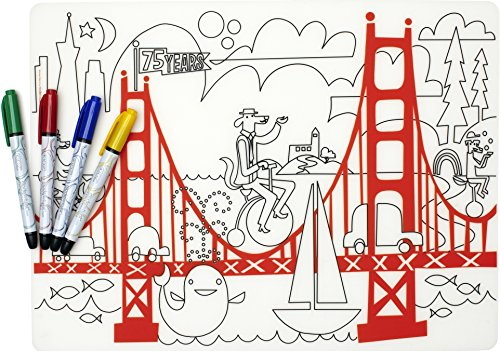 modern-twist Kids Mark-Mat Silicone Coloring Placemat with 4 Dry-Erase Markers, Fun on the Golden Gate