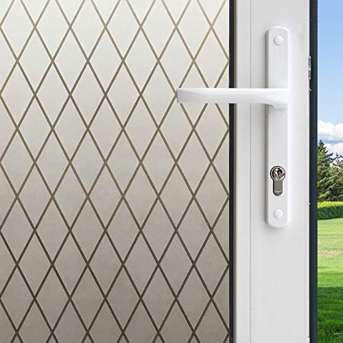 Gila 50188238 Frosted Lattice Decorative Privacy Control Static Cling 36 x 78-INCH (3 6.5 ft.) Window Film, 36in x 78in]()