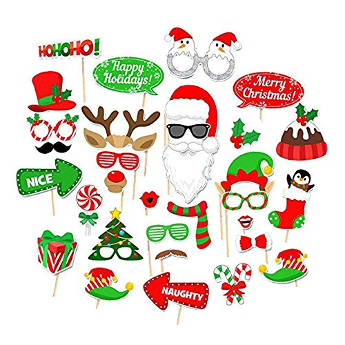 32PCS Christmas Xmas Santa Party Card Masks Photo Booth Props Mustache - Party Christmas Supplies