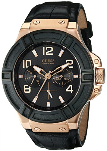 guess u0040g5 mm stainless steel case black leather mineral men s guess u0040g5 mm stainless steel case black leather mineral men s watch amazon co uk watches