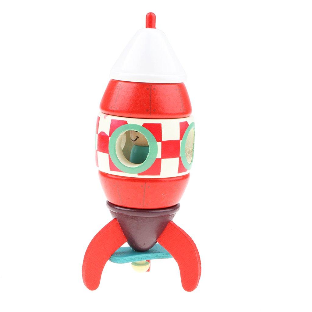 Baoblaze Novel Wooden Toy, Magnetic Assembled Red Colored Rocket Model for Kids, DIY Toy Kids Gift