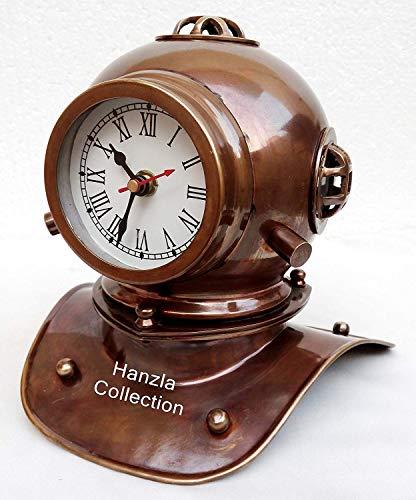 Arsh Nautical Vintage Antique Brass Divers Diving Helmet Clock Nautical Collectible Desktop Decorative A