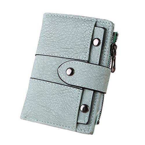 YJYDADA Wallet Holder,Women Simple Retro Rivets Short Wallet Coin Purse Card Holders Handbag (Green) 4 Tri Fold Garment Bag