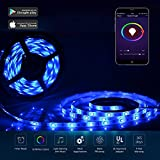 Wifi LED Lights Strip work with Amazon Alexa, Waterproof RGB 5M SMD5050 LED Strip Light Music Light,APP Control & IR Remote Control Work with Alexa Support Timer Voice/Music Control DC12V