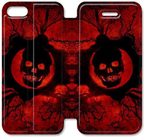Flip étui en cuir PU Stand pour Coque iPhone 5 5S, bricolage 5 5S Gears de cas de téléphone portable du crâne I0U6FT unique et personnalisé Coque iPhone Guerre étui en cuir