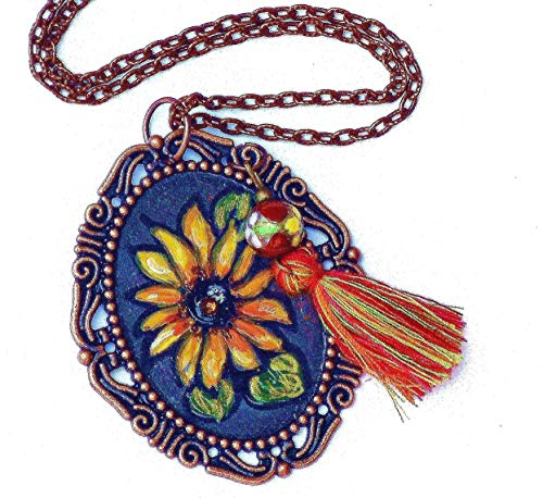 Handmade Hand Painted Large Long Yellow Sunflower Pendant Necklace Flower Bohemian Jewelry for Women ()