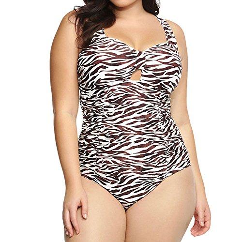 Women Flattering Leopard Peekaboo Floral Plus Size Monokini Swimsuits