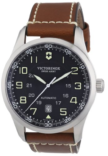 Swiss Military Air (Victorinox Swiss Army Men's 241507 Air Boss Black Dial Brown Strap Watch)