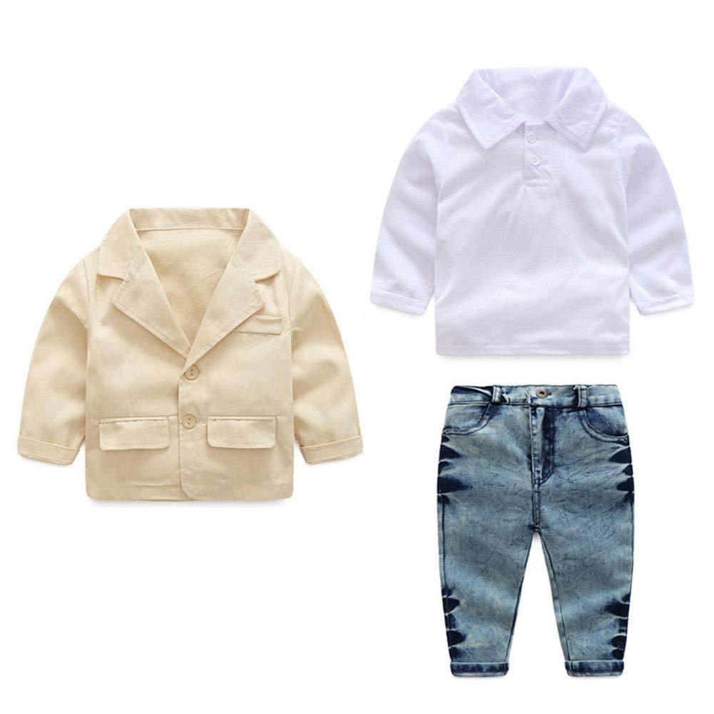 Little Boys' 3 Pieces Casual Blazer Caots Shirt Jeans Clothing Set (2T, Beige)