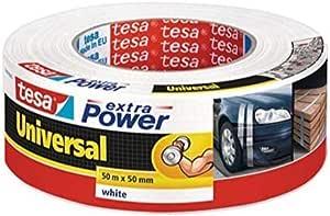 tesa Extra Power Universal , Cinta Adhesiva Americana Reforzada para Reparar, Fijar, Agrupar, Reforzar o Sellar , Blanca , 50 mx 50 mm