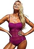 Lookbook Store Women's Plum Crochet Lace Halter Straps Swimsuits Bathing Suit US 2