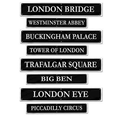 Beistle 54824 British Street Sign Cutouts (4 Pack), 4