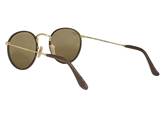 95e4d1d29d Amazon.com  Ray Ban RB3475Q Leather Round 112 53 Matte Gold Brown   Light  Brown Sunglasses 50mm  Clothing