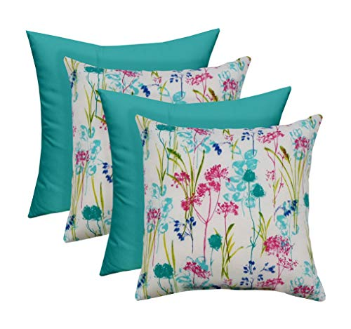 Set of 4 – Indoor Outdoor 17 Square Decorative Throw Toss Pillows – 2 Pink Teal Poppy Floral 2 Cancun