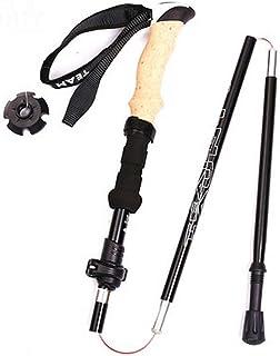 YHJM Five-Section Pliant télescopique Trekking Pole EVA Imitation en liège Béquilles à Tige Droite en Alliage Canne Noir