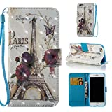 iPhone 6S/iPhone 6 Case, [Shock Absorbent] PU Leather Kickstand Wallet Cover Durable Flip Carrying Case with Magnetic Closure Birthday Gift for Girlfriend Boyfriend for Apple iPhone 6S/iPhone 6-Tower