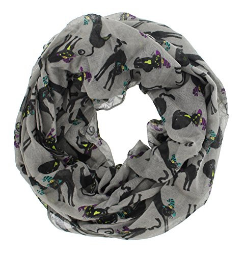 Share Bear Halloween Costume (Women's Halloween Theme Gauze Infinity Scarf (Grey Black Cats))