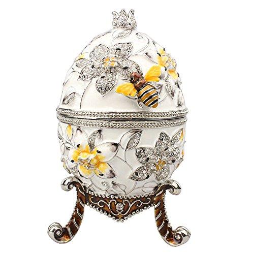 Minihouse Big Jeweled Faberge Flower Russian Easter Egg Trinket Gift Box Metal Enameled ...