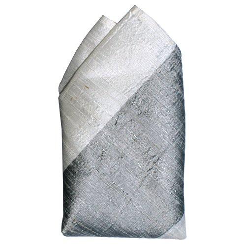 (Broad Grey Ivory Stripes Dupioni Silk Pocket Square by ROYAL SILK)