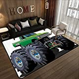 Rubber mat,Cars Decor,Giant Monster Pickup Truck with Large Size Tires and Suspension Extreme Biggest Wheel Print,Green Grey 78.7''x 94'' Floor mats for Kids