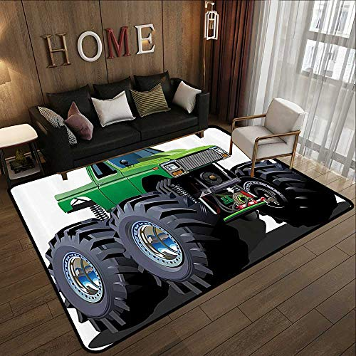 Rubber mat,Cars Decor,Giant Monster Pickup Truck with Large Size Tires and Suspension Extreme Biggest Wheel Print,Green Grey 78.7''x 94'' Floor mats for Kids by ParadiseDecor (Image #6)