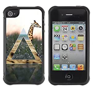 Hybrid Anti-Shock Defend Case for Apple iPhone 4 4S / Cool Giraffe & Nature