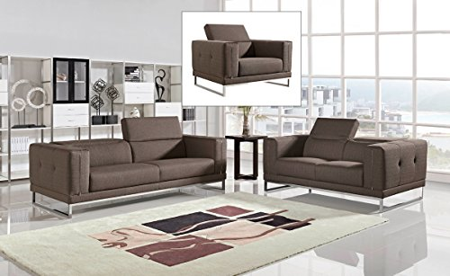Divani Casa Halite Modern Brown Fabric Sofa Set