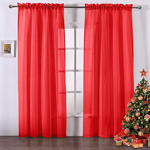 DWCN Red Sheer Curtains Faux Linen Rod Pocket Bedroom Curtains  Set of 2 Sheer Panels, 52 x 84 Inches Long Window Drapes,Christmas Curtains (Polyester Panel Sheer Curtains)