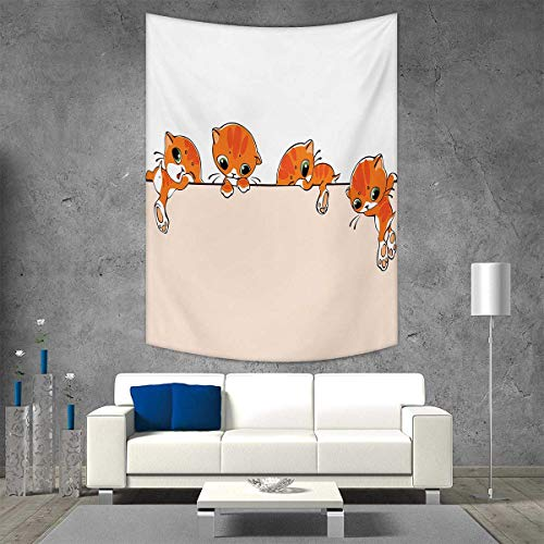 smallbeefly Cat Vertical Version Tapestry Banner Little Kitties Felines Over Jumping The Walls Free Artful Design Throw, Bed, Tapestry Yoga Blanket 57W x 74L INCH Orange Cream White