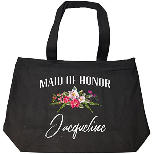 Maid Of Honor Jacqueline Custom Name Bridal Party Gift - Tote Bag With Zip (Jacqueline Bridal Shop)