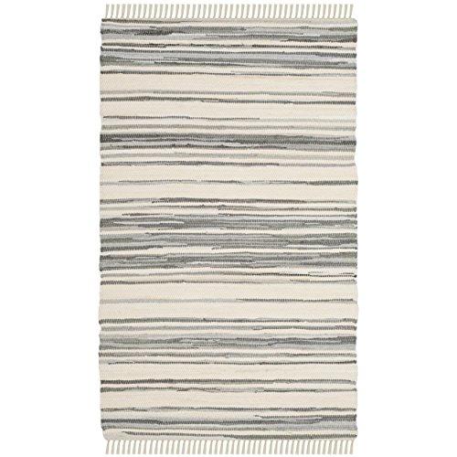 Safavieh Rag Rug Collection RAR126A Hand Woven Ivory and Grey Cotton Area Rug (2'6