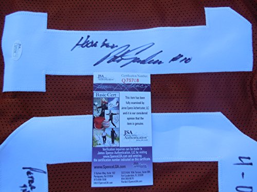 Peter Gardere Signed Texas UT Longhorns Burnt Orange Jersey w/ Hook Em Peter the Great 4-0 vs OU JSA COA (Burnt Orange Ut)