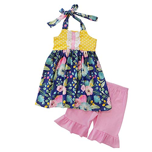 So Sydney Girls Toddler 2-4 Pc Novelty Spring Summer Top Capri Set Accessories (2T (XS), Poppy Yellow & Navy Halter) -