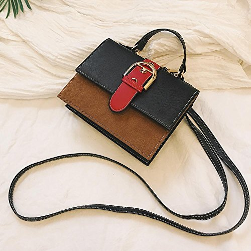 les à pour Bag de Femmes en Bandoulière Occasionnel Patchwork Messenger Sac Cuir Demiawaking Crossbody à Noir Couleur main Sac PU Bx0nFvR