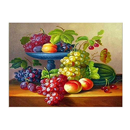 (Zamtac Hot DIY Diamond Embroidery Delicious Fruit Round Diamond Painting Cross Stitch(Compote))
