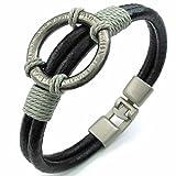 AnaZoz Alloy Brown Cuff Bangle Black Bracelet Roman Style Leather Men's Jewelry