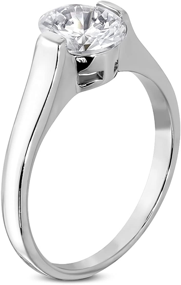 Stainless Steel Compression-Set Oval Solitaire Engagement Ring with Clear CZ
